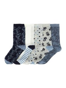 Linea Floral denim 5 pack socks
