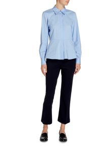 Ellen Tracy Button front long sleeve shirt with peplum