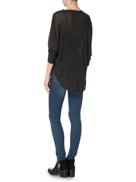 Label Lab Chiffon trim ribbed charcoal top