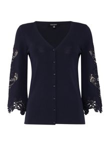 Ellen Tracy Lace arm detail cardigan