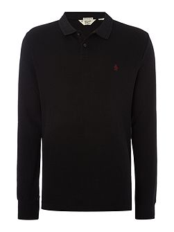 Raised-Rib Waffle Front Long Sleeve Polo