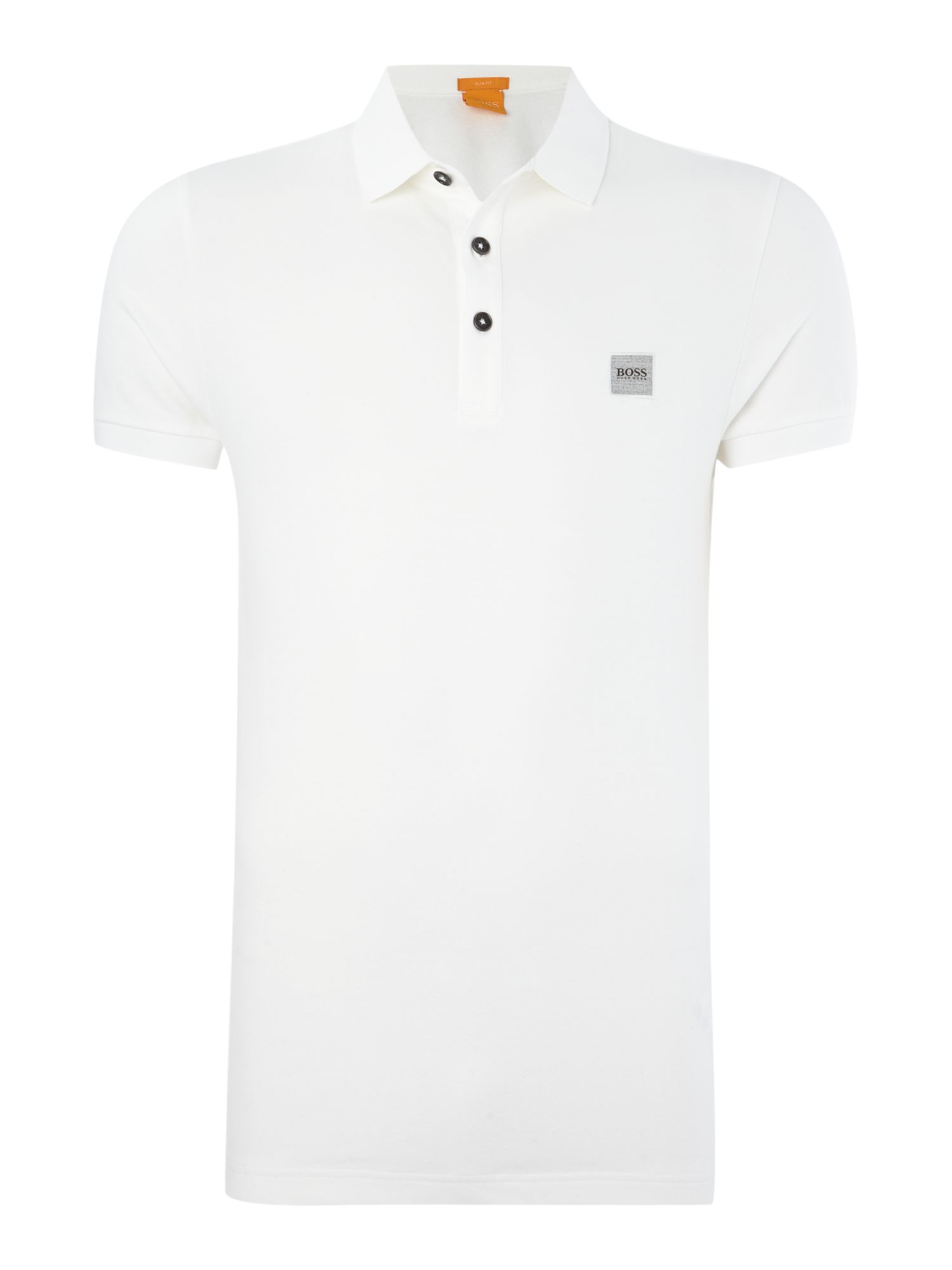 Men's Hugo Boss Pavlik slim fit patch logo polo shirt, White
