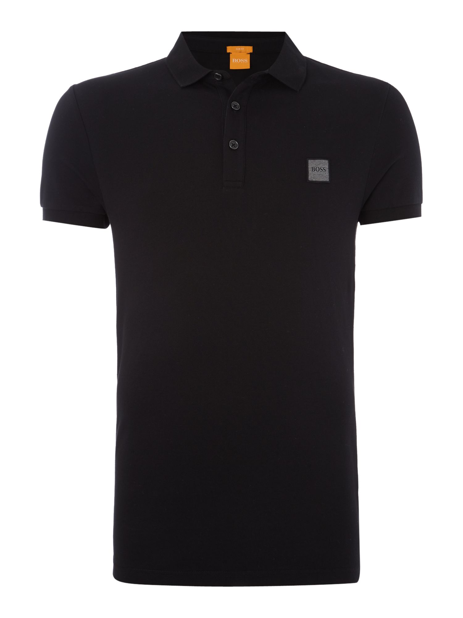 Men's Hugo Boss Pavlik slim fit patch logo polo shirt, Black
