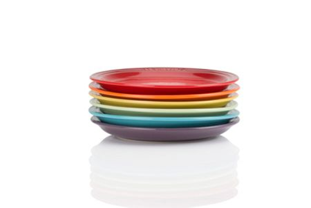 Le Creuset Set 6 rainbow tea plates