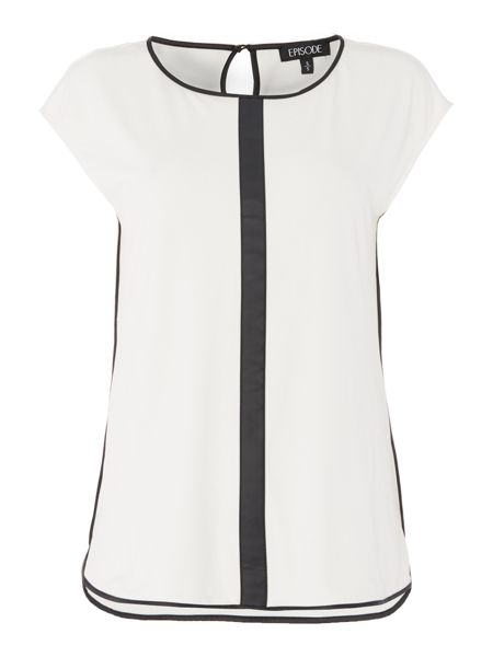 Episode Sleeveless soft jersey top with PU trim