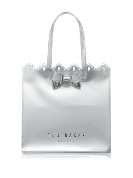Ted Baker Belacon silver large bowcon bag