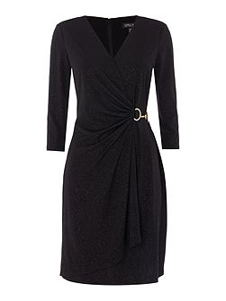 Long sleeve sparkle wrap dress with hardwear