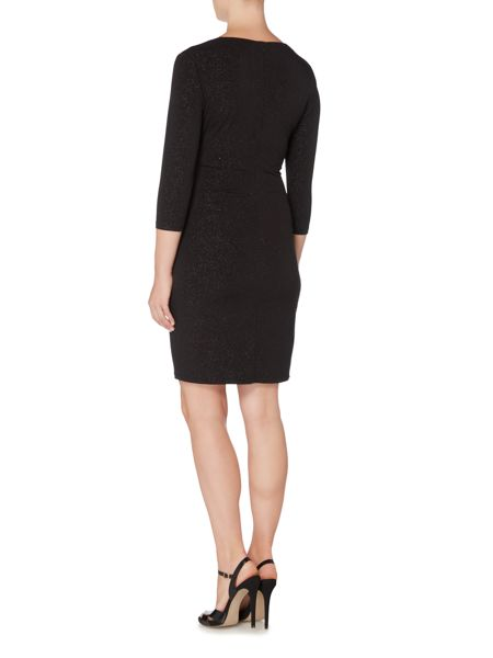 Episode Long sleeve sparkle wrap dress with hardwear