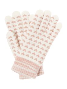 Dents Heart print gloves