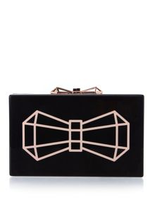 Ted Baker Bowwe black glitter clutch bag