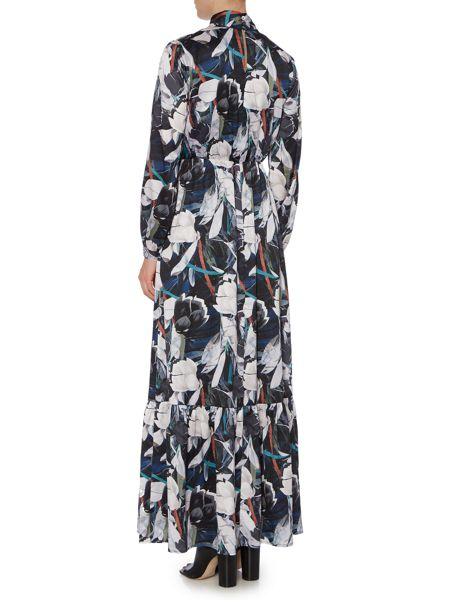 Lost Ink Long Sleeved Leaf Printed Maxi Dress
