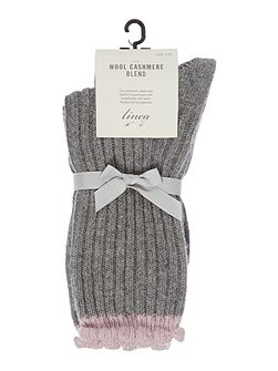 Cashmere scallop lounge sock
