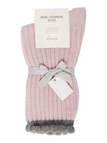 Linea Cashmere blend scallop lounge sock