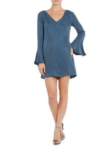 Talulah Long Sleeve Vneck Bell Sleeve Mini Dress
