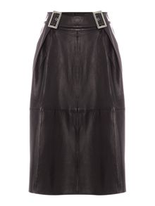 Lost Ink Leather Buckle Midi Skirt