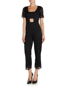 Lost Ink Short Sleeved Lace Jumpsuit