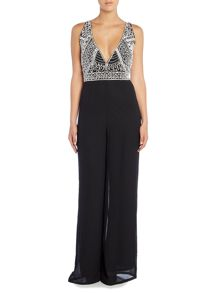 Lace and Beads Sleeveless Plunge Neck Wide Leg Jumpsuit