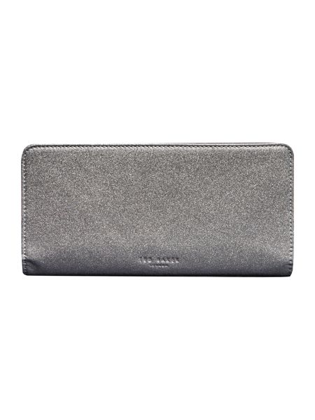 Ted Baker Tilliee silver large glitter zip around purse