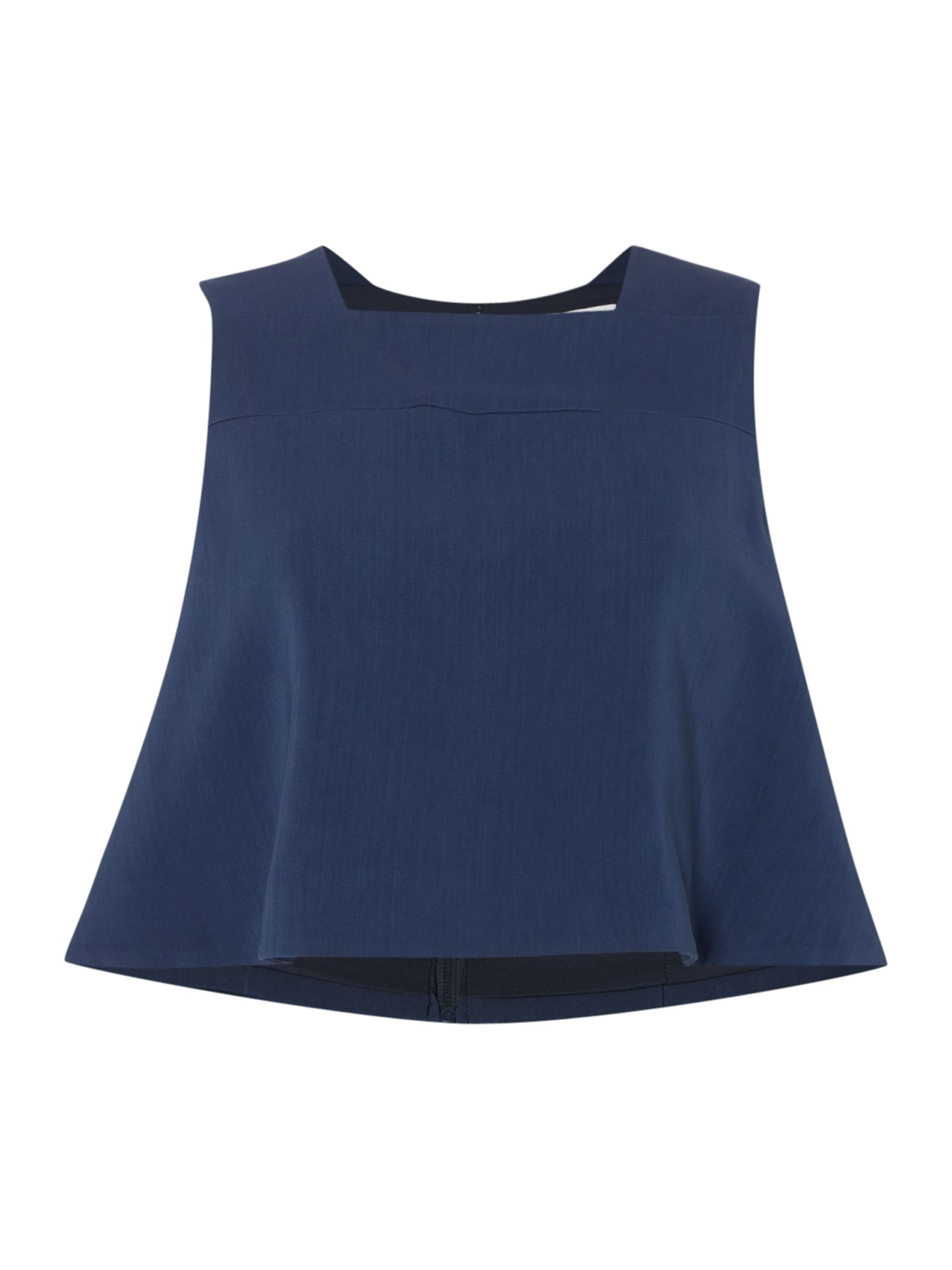 Keepsake Sleeveless Square Neck Crop Top, Blue