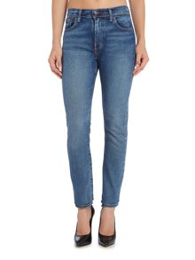 Levi's 505 High Rise straight leg jean in atomic blue