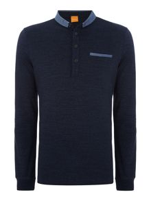Hugo Boss Patcherman long sleeve button down slub polo