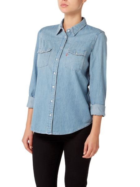 Levi's Long Sleeve western denim shirt in seascape light