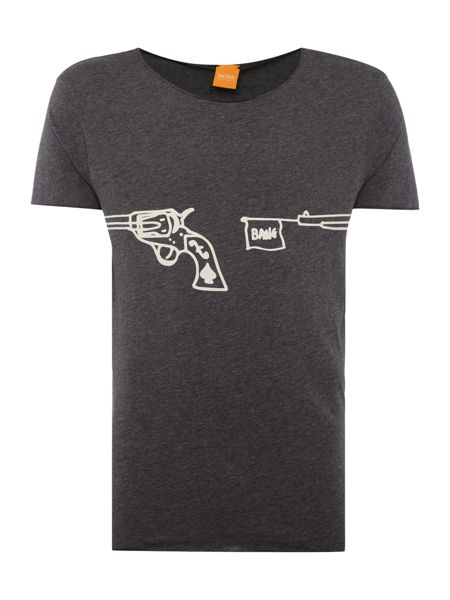 Hugo Boss Twiah shooting gun print t shirt