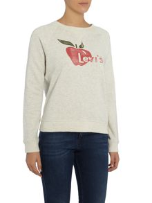 Levi's Levis Apple logo crew neck sweat in oatmeal