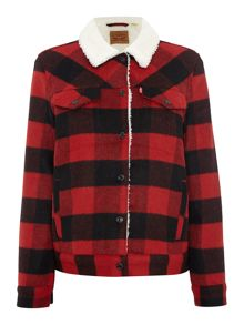 Levi's Boyfriend Sherpa Jacket Cherry Bomb Plaid