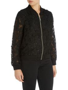 LYDC Long Sleeved Lace Bomber Jacket