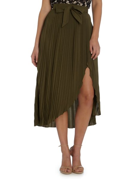LYDC Pleated High Low Midi Skirt