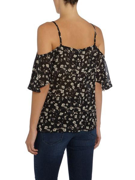 LYDC Long Sleeved Cold Shoulder Printed Top