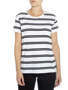 Levi's Relaxed fit stripe tee in bright white stripe