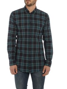 Hugo Boss ElongE long line madras flannel check shirt