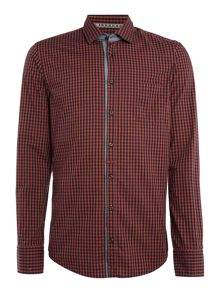 Hugo Boss EslimE gingham check long sleeve shirt