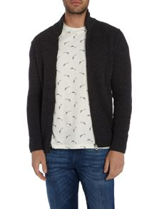 Hugo Boss Kasnarem wool mix zip thru funnel neck cardigan