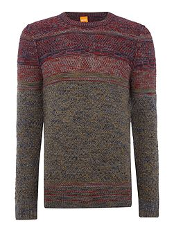 Agruade slub pattern knitted crew neck jumper