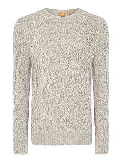 Kradull chunky cable knit crew neck jumper