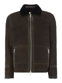 Hugo Boss Jacuzzi shearling zip through flight jacket