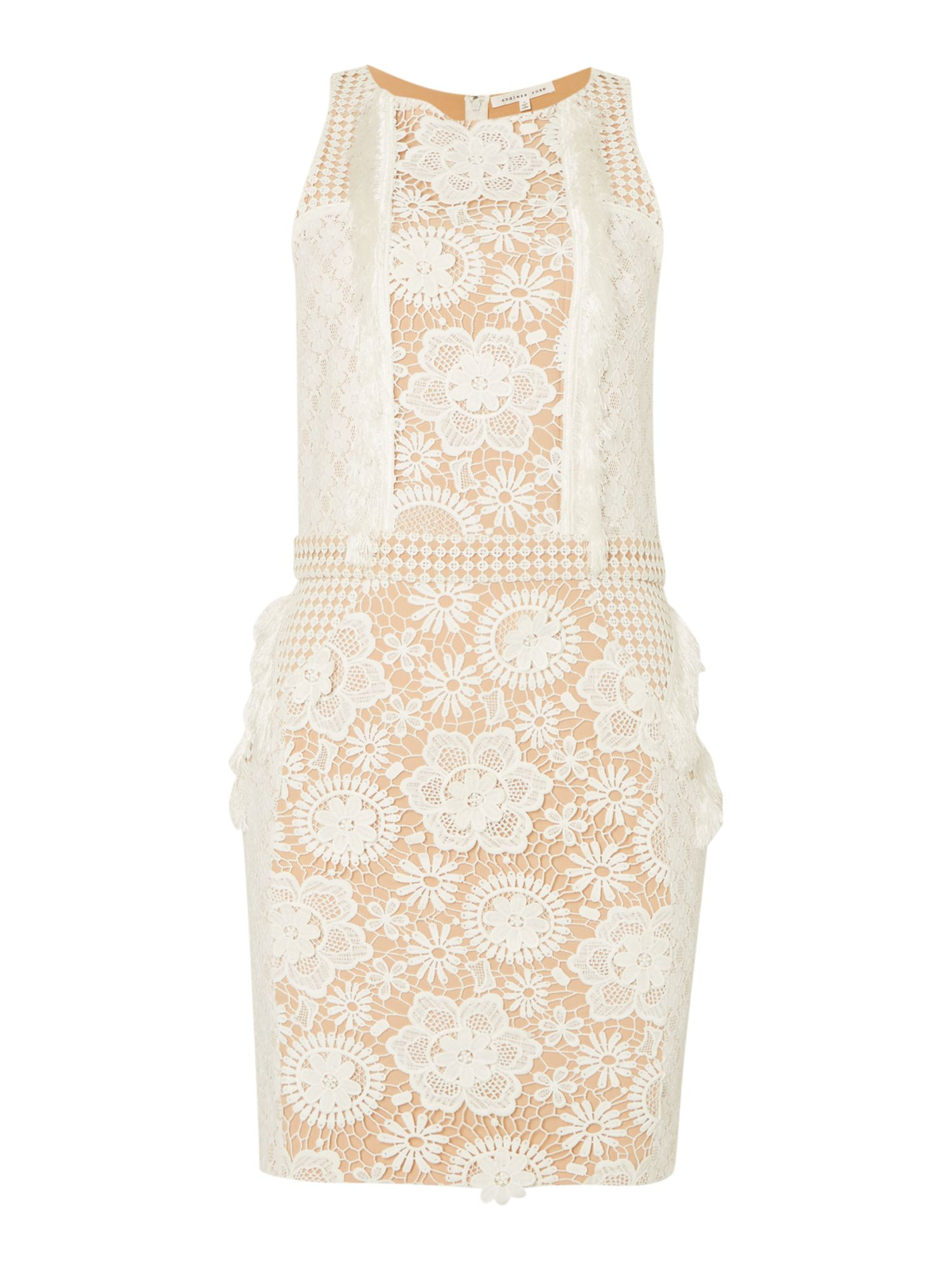Endless Rose Sleeveless Lace Embroidered Detail Shift Dress, Off White