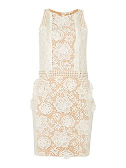 Sleeveless Lace Embroidered Detail Shift Dress