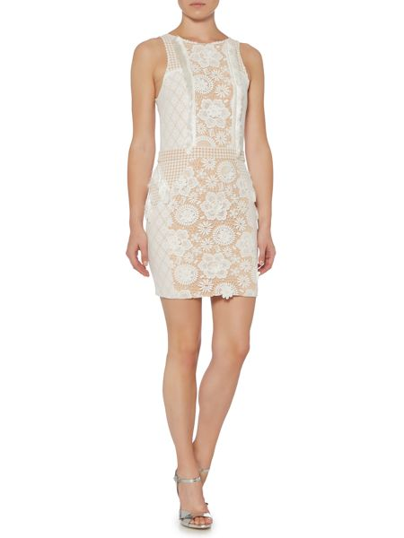 Endless Rose Sleeveless Lace Embroidered Detail Shift Dress