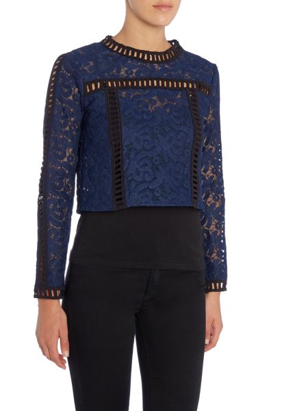 Endless Rose Long Sleeved Embroidered Panelled Top