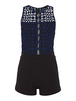 Sleeveless Embroidered Top Playsuit