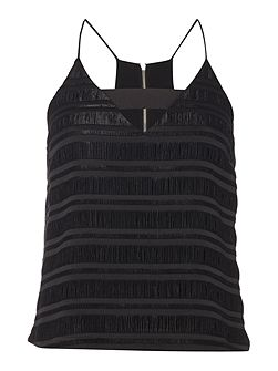 Sleeveless Textured Cut Out Top
