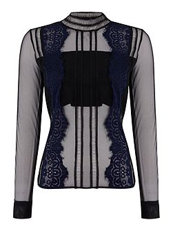 Long Sleeved Chiffon Embroidered Blouse