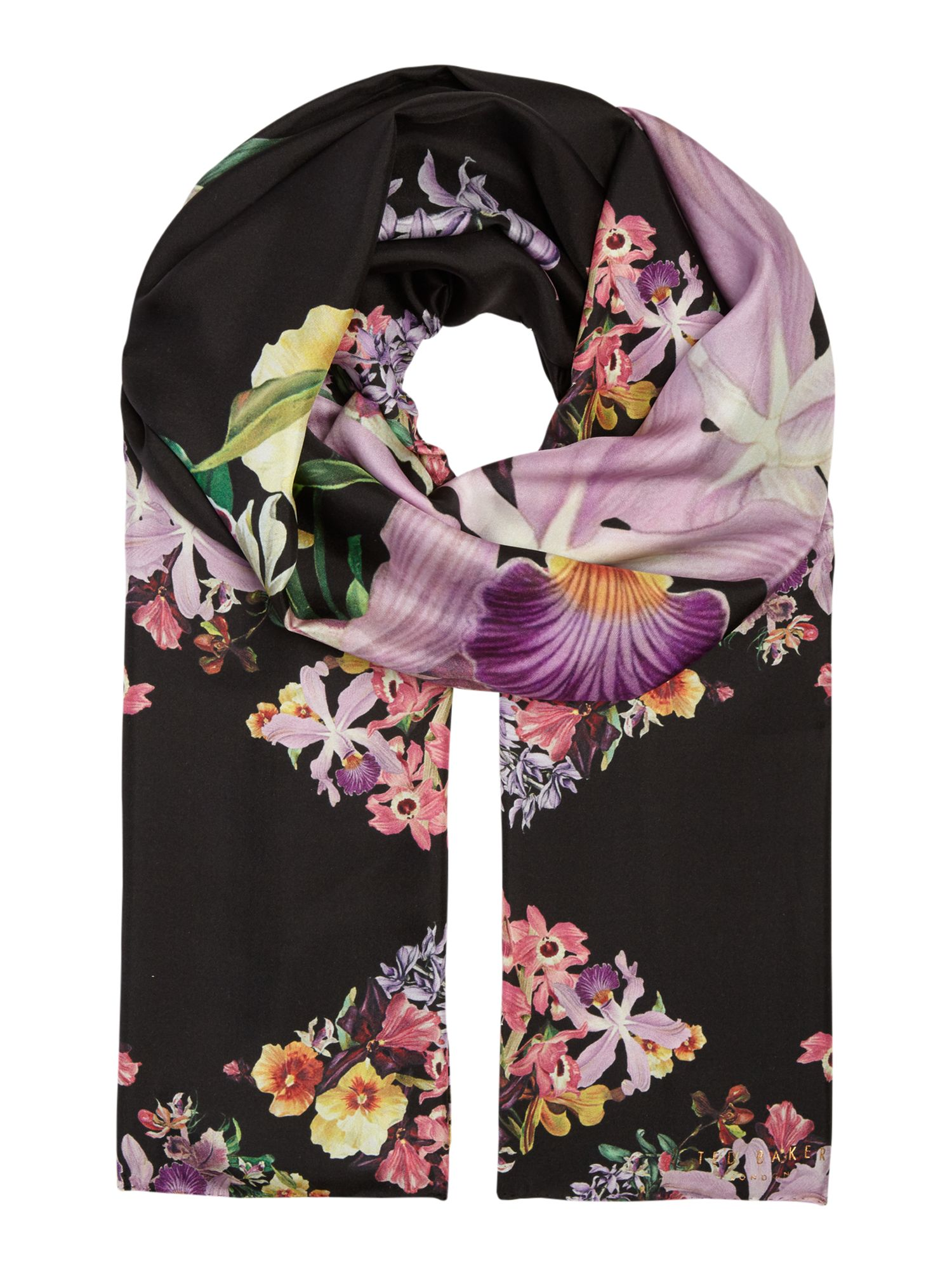 Ted Baker Lost garden long silk scarf Black