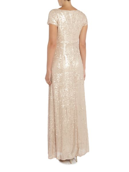 Adrianna Papell Petite all over sequin gown