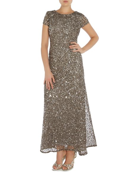 Adrianna Papell Petite cap sleeve all over sequin gown