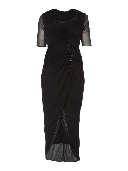 Adrianna Papell Plus size sheer sleeve gown